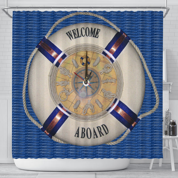 Welcome Aboard Shower Curtain - Go Steampunk