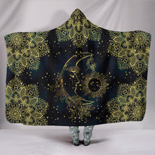 "Load image into Gallery viewer, Gold Sun Moon Hoodie Blanket Hooded BlanketGold Sun Moon Hoodie Blanket / Youth 60""x45"" - Go Steampunk"