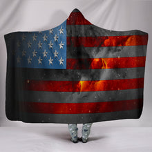 "Load image into Gallery viewer, American Space Flag Hooded Blanket Hooded BlanketAmerican Space Flag Hooded Blanket / Youth 60""x45"" - Go Steampunk"
