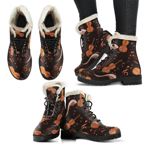 Strings and Notes Violin Faux Fur Leather Boots Shoes - Go Steampunk