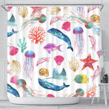 Watercolor Ocean Shower Curtain with Whales Fish Starfish and Jellyfish - Go Steampunk