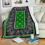 Ultra Plush Green and Black Bandana Blanket - Go Steampunk