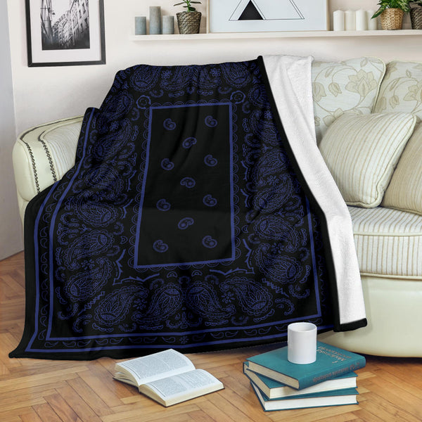 Ultra Plush Black and Navy Bandana Throw Blanket - Go Steampunk