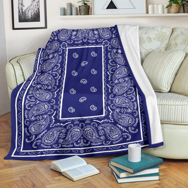 Ultra Plush Blue and White Bandana Throw Blanket - Go Steampunk