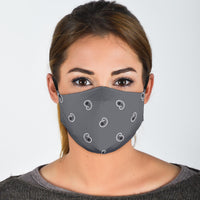 Adjustable Classic Gray Paisley Face Mask with 5 Layer Filters - Go Steampunk