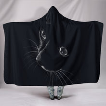 "Load image into Gallery viewer, Black Cat Hooded Blanket Hooded BlanketBlack Cat Hooded Blanket / Youth 60""x45"" - Go Steampunk"