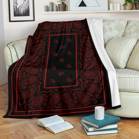Ultra Plush Black and Red Fleece Bandana Blanket - Go Steampunk