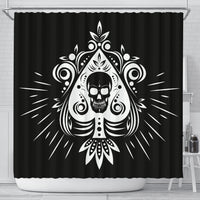 Skull Tattoo Design Black Shower Curtain - Go Steampunk