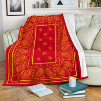Ultra Plush Red and Gold Bandana Throw Blanket - Go Steampunk