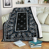 Ultra Plush Black Frost Bandana Blanket - Go Steampunk