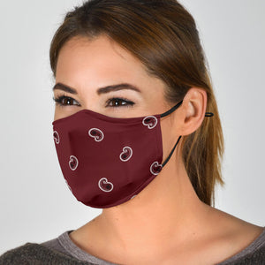 Adjustable Burgundy Paisley Face Mask with 5 Layer Filters - Go Steampunk