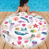Watercolor Ocean Beach Blanket with Whales Fish Starfish and Jellyfish - Go Steampunk