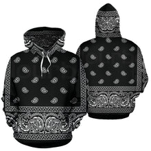 Load image into Gallery viewer, Bandana Print Hoodie, Unisex, Black - Go Steampunk
