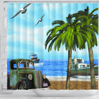 Truck and Palm Shower Curtain - Go Steampunk