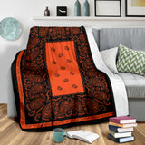Ultra Plush Orange and Black Bandana Blanket - Go Steampunk