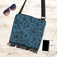 Dark Blue Flower Crossbody Boho Handbag - Go Steampunk