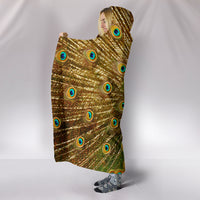 Golden Peacock Plush Lined Hooded Blanket - Go Steampunk