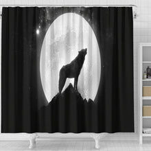Load image into Gallery viewer, Wolf Howling Shower Curtain - Go Steampunk