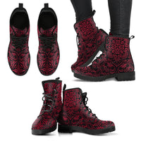 Bohemian Fiesta (Red Jester) - Vegan Leather Boots - Go Steampunk