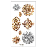 Golden and Silver Metallic Temporary Tattoos 5 Designs