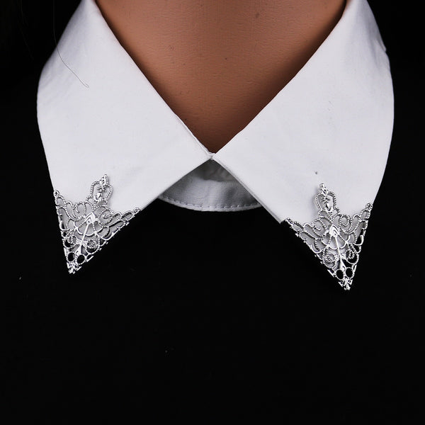 Vintage Fashion Triangle Shirt Collar Pin for Men and Women