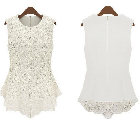 White Lace Sleeveless Shirt