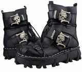 Genuine Leather Steampunk Skull Mid-calf Boots