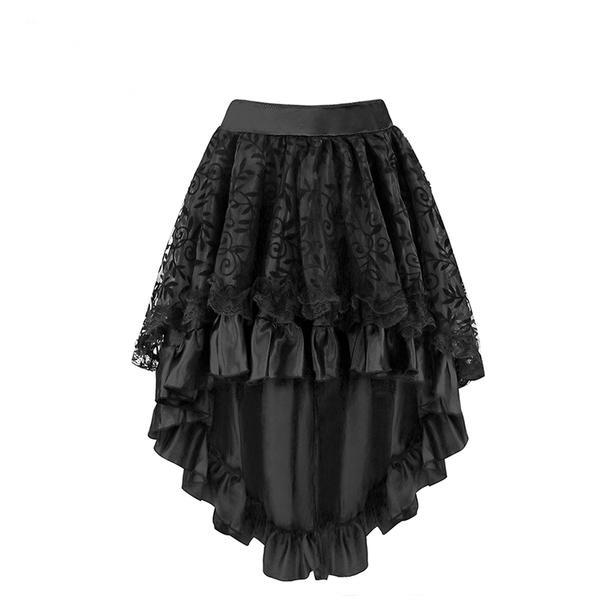 Black Lace Waterfall Hem Midi Skirt