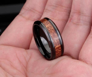 Black ring with dark red wood inlay - Go Steampunk