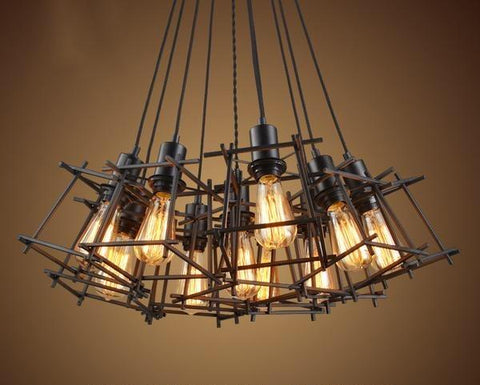 Wrought Iron Steampunk Industrial Cage Lamp Light