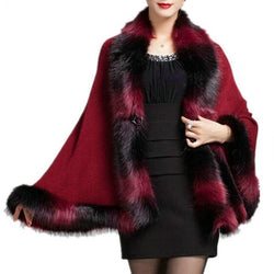 Faux Fox Fur And Wool Cashmere Cape