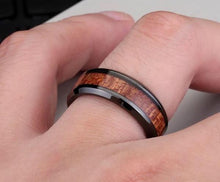 Load image into Gallery viewer, Black ring with dark red wood inlay - Go Steampunk