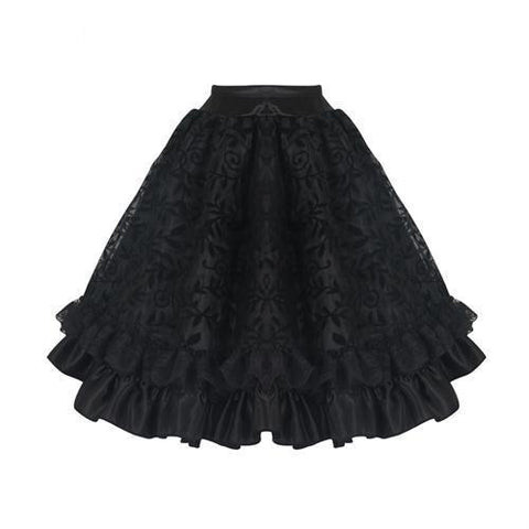 Elegant Tulle Pleated Lace Steampunk Tutu Mini Skirt