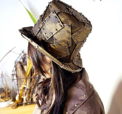 Steampunk Faux Steel Rivet Fabric Top Hat - Go Steampunk