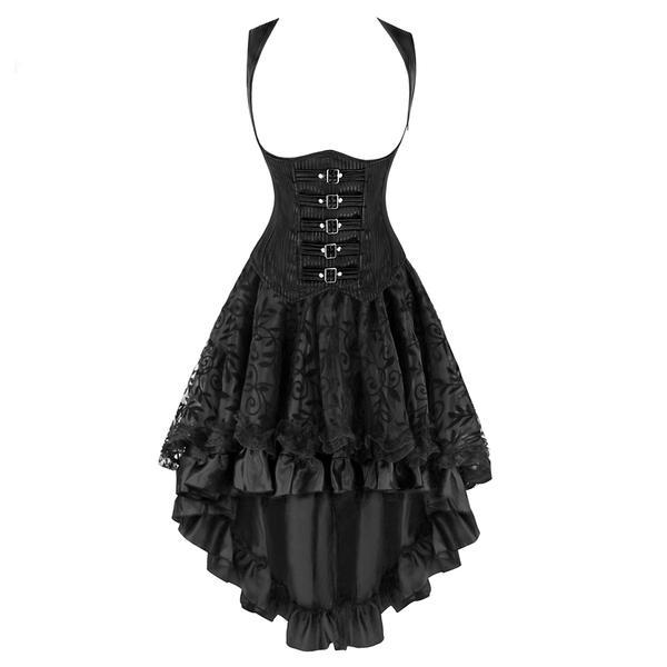 Black Buckle Underbust Steampunk Corset Dress - Go Steampunk