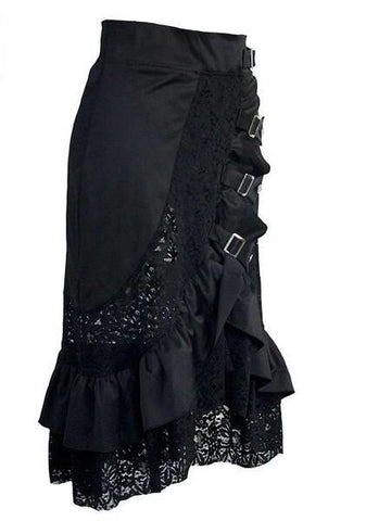 Black Punk Buckled Dropped Skirt with Ruffle and Lace