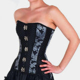 Silver Floral & Netted Pattern Steampunk Slimming Waist Corselet Plus Size Waist Trainer Corset Steel Boned Corsets - Go Steampunk