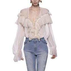 Autumn Chiffon Ruffles Deep V Neck Blouse