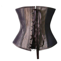 Stripes and Buckles Steel Boned Underbust Steampunk Waist Cincher - Go Steampunk