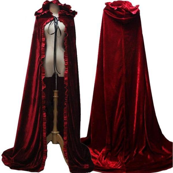 Long Red Velvet Cloak with Hood - Go Steampunk