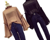 Transparent Chiffon Blouse with Long Lantern Sleeve Ruffle - Go Steampunk