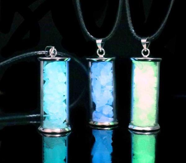 Glow in the Dark Stones Glass Bottle Necklace