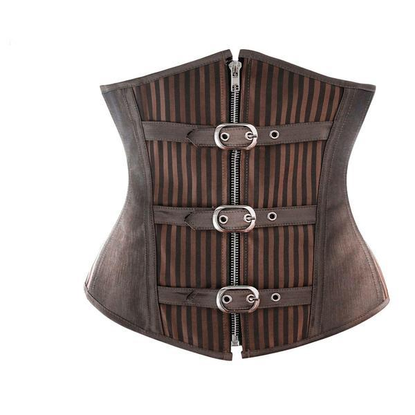 Stripes and Buckles Steel Boned Underbust Steampunk Waist Cincher Brown / XS - Go Steampunk