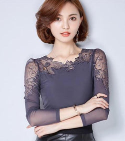 Chiffon and Lace Forest Leaf Blouse