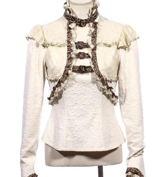 Victorian Steampunk Ruffled Buckle Top Blouse