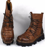 Genuine Leather Steam Punk Combat Boots - Go Steampunk