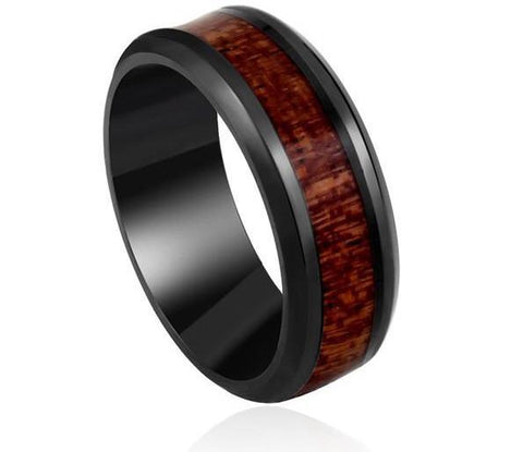 Black ring with dark red wood inlay