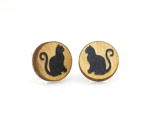 Cat Stud Earings - Go Steampunk