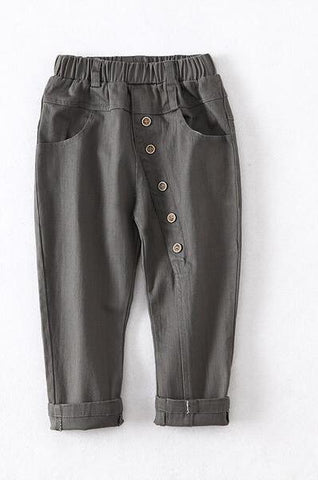 Cotton Elastic Waist Full Length Children's Casual Pants gray / 2T - Go Steampunk