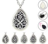 Magnetic Silver Stainless Steel Teardrop Essential Oil Diffuser Locket Necklace